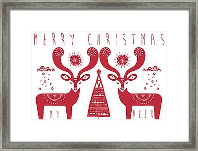 Christmas Deers Framed Print by Susan Claire