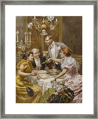 Christmas Eve Dinner In The Private Dining Room Of A Great Restaurant Framed Print by Ludovico Marchetti