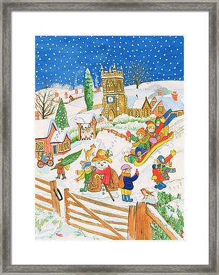 Christmas Eve In The Village Framed Print by Tony Todd