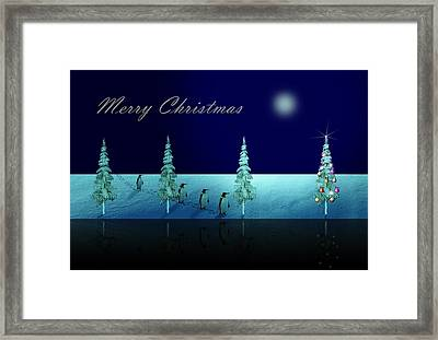 Christmas Eve Walk Of The Penguins  Framed Print by David Dehner