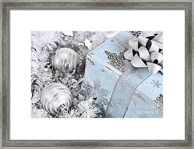 Christmas Gift Box And Decorations Framed Print by Elena Elisseeva