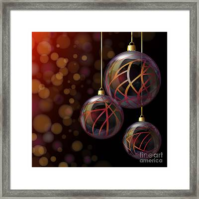 Christmas Glass Baubles Framed Print by Jane Rix
