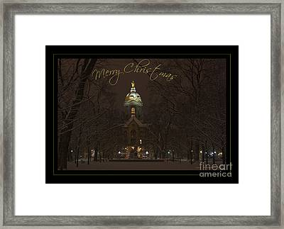 Christmas Greeting Card Notre Dame Golden Dome In Night Sky And Snow Framed Print by John Stephens