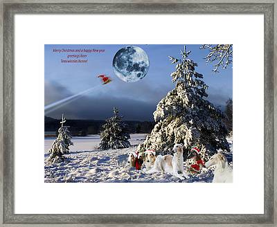 Christmas Greetings From Borzoi Sight-hounds Framed Print by Christian Lagereek