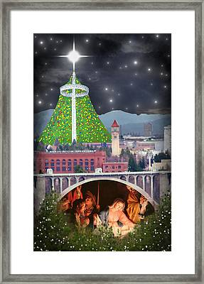 Christmas In Spokane Framed Print by Mark Armstrong