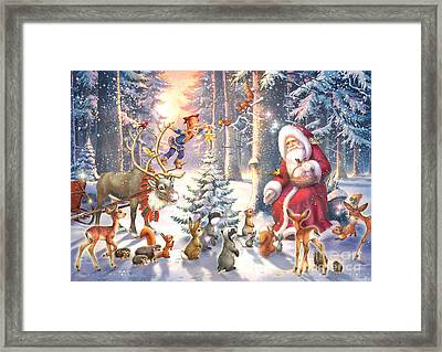 Christmas In The Forest Framed Print by Zorina Baldescu