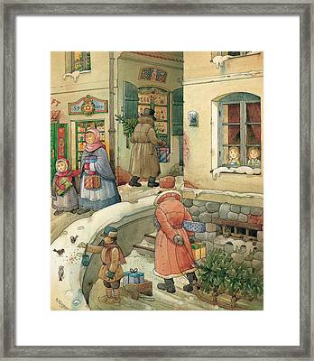 Christmas In The Town Framed Print by Kestutis Kasparavicius