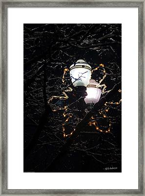Christmas Light Post - Grants Pass Framed Print by Mick Anderson
