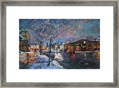 Christmas Lights In Elmwood Ave  Framed Print by Ylli Haruni