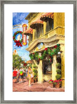 Christmas On Main Framed Print by Michael Petrizzo