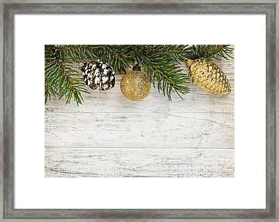 Christmas Ornaments On Fir Branch Framed Print by Elena Elisseeva