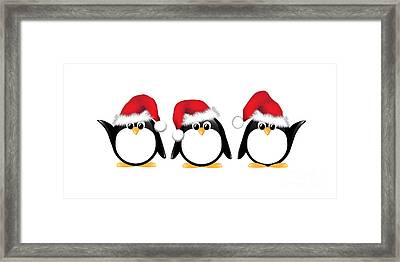 Christmas Penguins Isolated Framed Print by Jane Rix