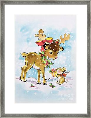 Christmas Reindeer And Rabbit Framed Print by Diane Matthes
