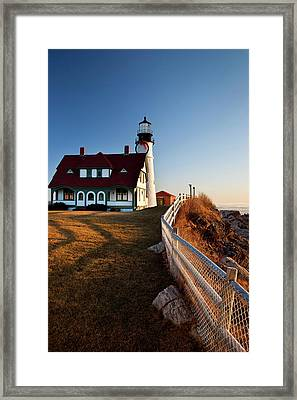 Christmas Time At Portland Head Framed Print by Brian Jannsen