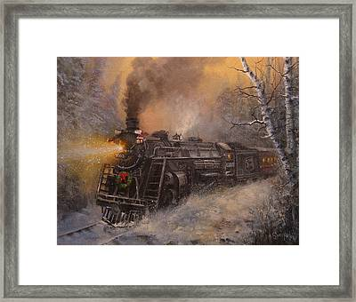 Christmas Train In Wisconsin Framed Print by Tom Shropshire
