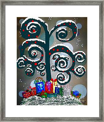Christmas Tree Swirls And Curls Framed Print by Eloise Schneider