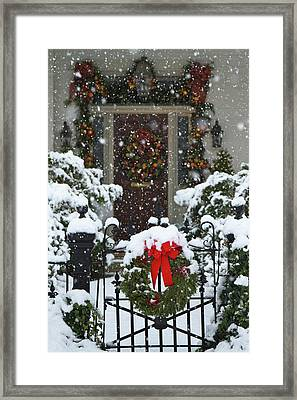 Christmas Wreaths And A Rare Holiday Framed Print by William Sutton