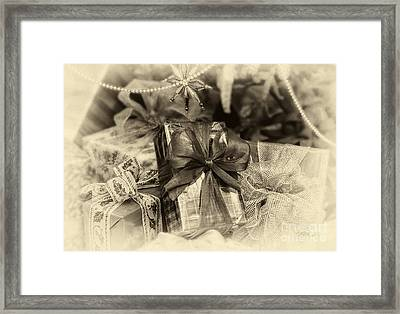 Christmasgift Under The Tree In Sepia Framed Print by Iris Richardson