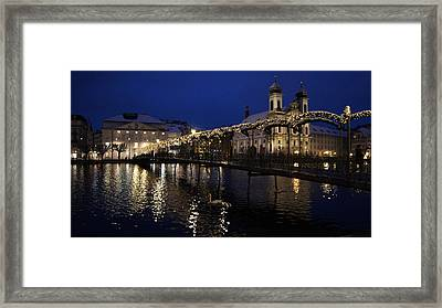 Christmastime In Lucerne Framed Print by Liz Naepflin