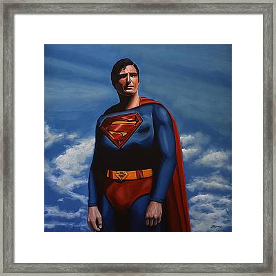 Christopher Reeve As Superman Framed Print by Paul Meijering