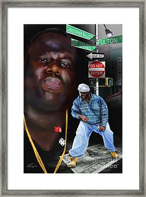 Christopher Wallace Way - Biggie Framed Print by Reggie Duffie