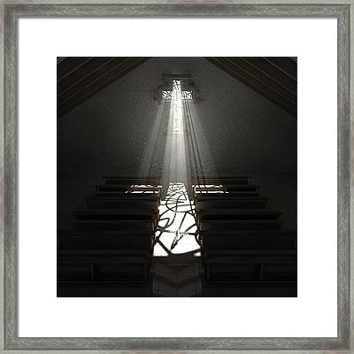 Christ's Light In The Dark Framed Print by Allan Swart