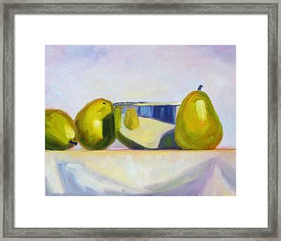 Chrome And Pears Framed Print by Nancy Merkle
