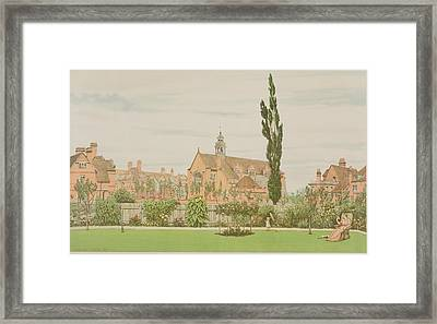 Church And Parsonage, Bedford Park, 1881 Framed Print by Frederick Hamilton Jackson