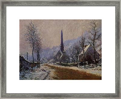 Church At Jeufosse Snowy Weather 1893 Restored Framed Print by Claude Monet - L Brown