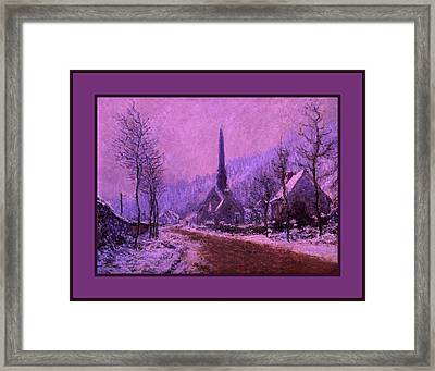 Church At Jeufosse Snowy Weather Enhanced Triple Border Framed Print by Claude Monet - L Brown