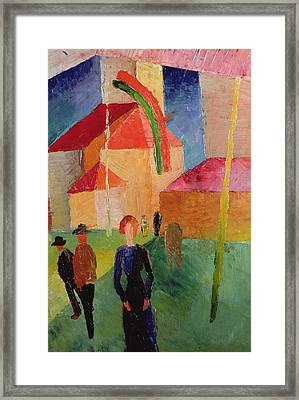 Church Decorated With Flags Framed Print by August Macke