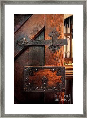 Church Door Framed Print by Jill Battaglia