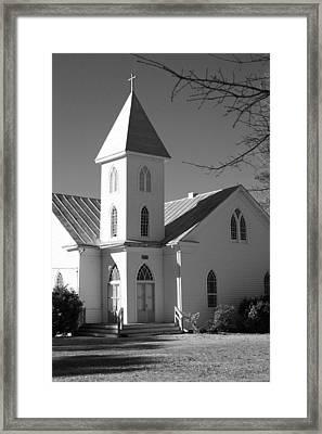 Church In Black And White Framed Print by Carolyn Ricks