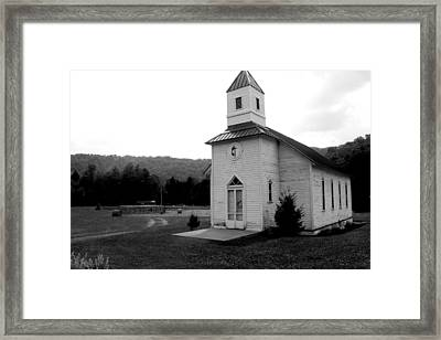 Church In The Country Bw Framed Print by Dale Bradley