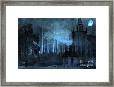 Church In Woods Starry Full Moon Night Framed Print by Kathy Fornal