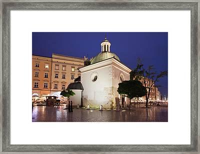 Church Of Saint Wojciech In Krakow At Night Framed Print by Artur Bogacki
