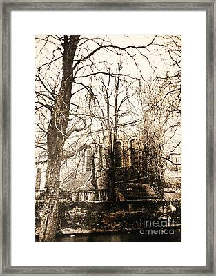 Church On Canal In Brugge Belgium Framed Print by PainterArtist FINs husband Maestro