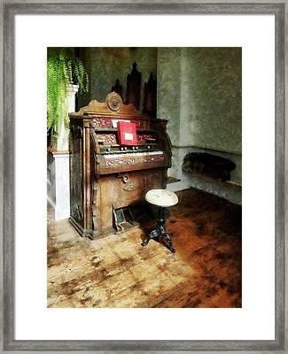 Church Organ With Swivel Stool Framed Print by Susan Savad