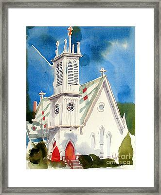 Church With Jet Contrail Framed Print by Kip DeVore