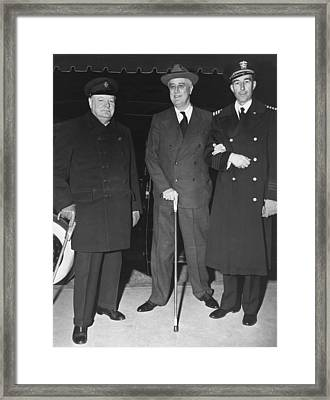 Churchill And Roosevelt Framed Print by Underwood Archives
