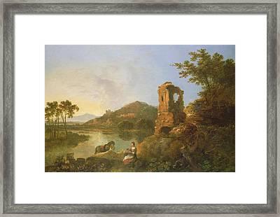 Ciceros Villa Oil On Canvas Framed Print by Richard Wilson