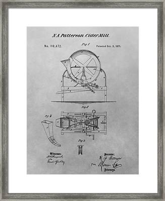 Cider Mill Patent Drawing Framed Print by Dan Sproul