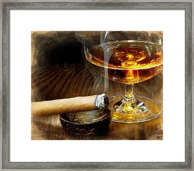 Cigar And Cordial Painting Framed Print by Tony Rubino