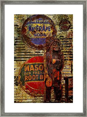 Cigar Store Indian Guards The Rootbeer Framed Print by Toni Hopper