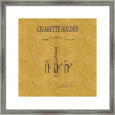 Cigarette Holder Patent 1 Framed Print by Andrew Fare