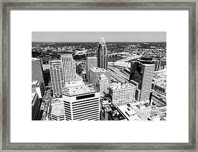 Cincinnati Aerial Skyline Black And White Picture Framed Print by Paul Velgos