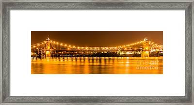 Cincinnati Bridge At Night Panoramic Picture Framed Print by Paul Velgos