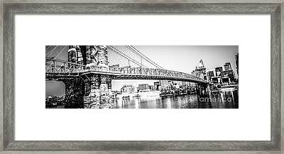 Cincinnati Bridge Retro Panorama Photo Framed Print by Paul Velgos