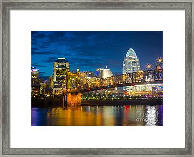 Cincinnati Downtown Framed Print by Inge Johnsson