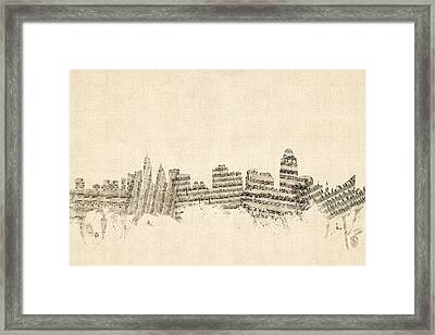 Cincinnati Ohio Skyline Sheet Music Cityscape Framed Print by Michael Tompsett